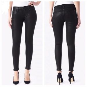 Hudson Krista Super skinny black waxed jeans